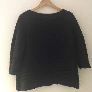 COS Black Raised Striped Top